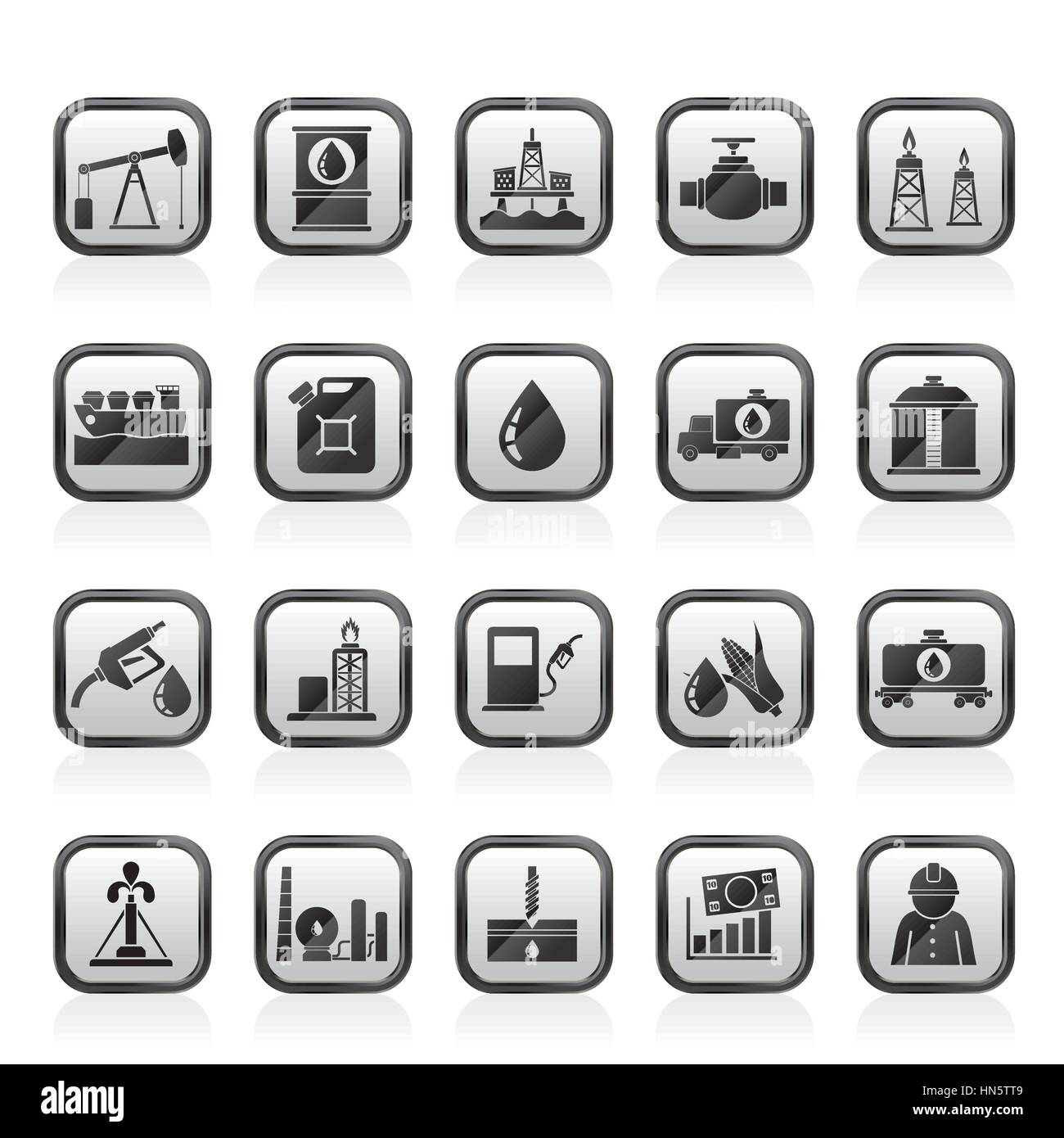 Oil industry, Gas production, transportation and storage icons - Stock Image
