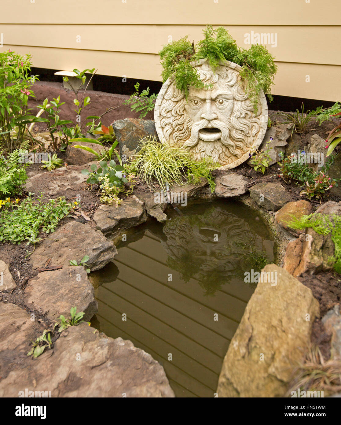 Pond with large sculptured stone face of mythical old man that can spurt water into pool surrounded by rockery with - Stock Image