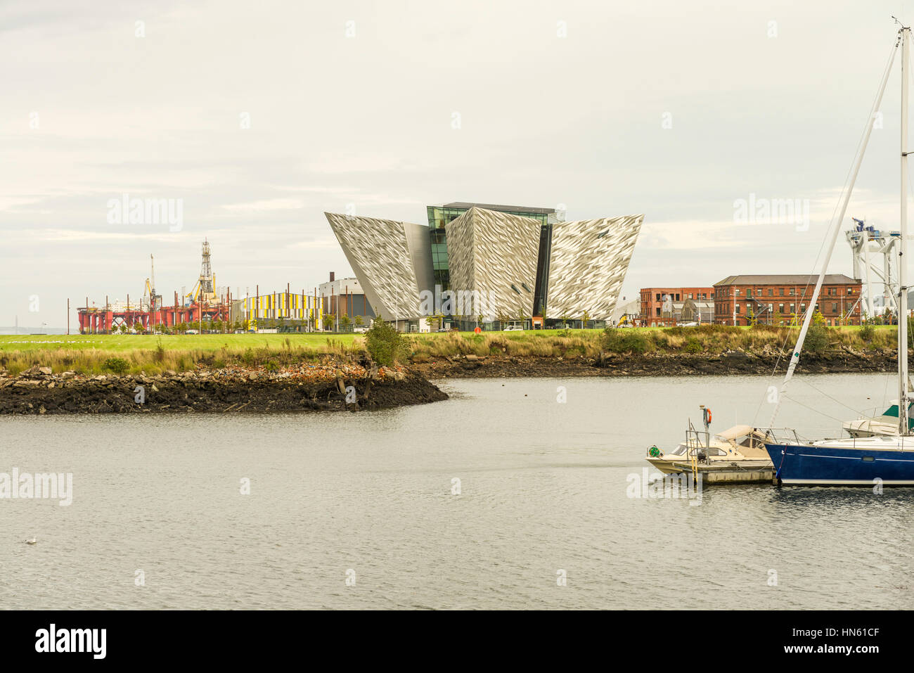 Titanic Belfast is a tourist attraction and museum at the former Harland & Wolff shipbuilding yards in Belfast's - Stock Image