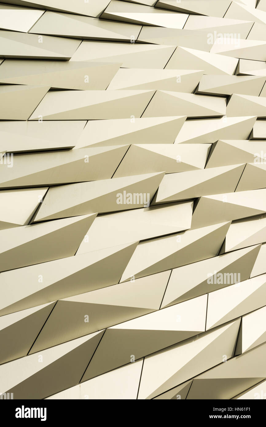 Detail of the cladding of Titanic Belfast museum at the former Harland & Wolff shipbuilding yards in Belfast's - Stock Image