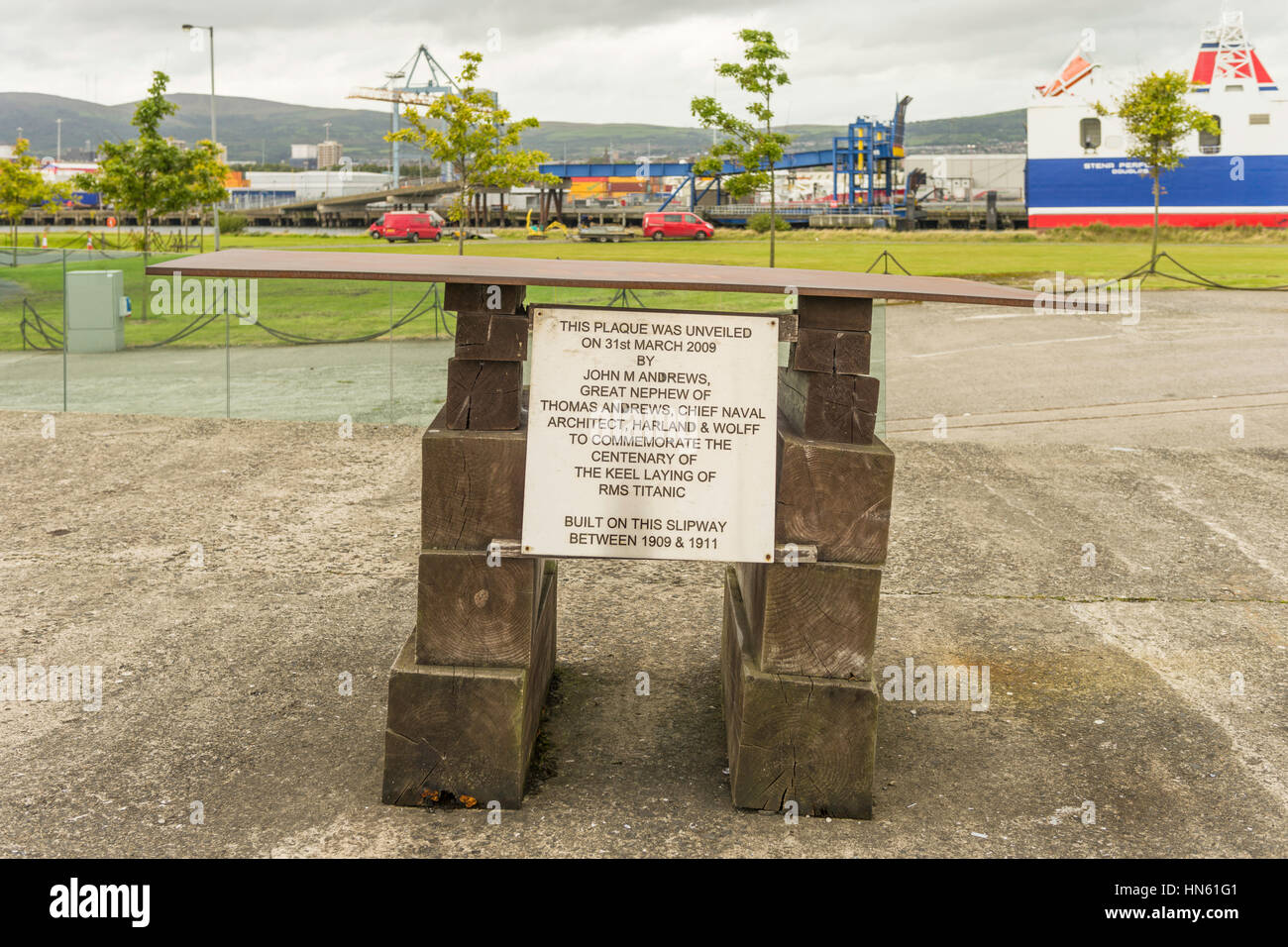 Memorial plaque commemorates 100 years since the keel of Titanic was laid on the slipway of the former Harland & - Stock Image
