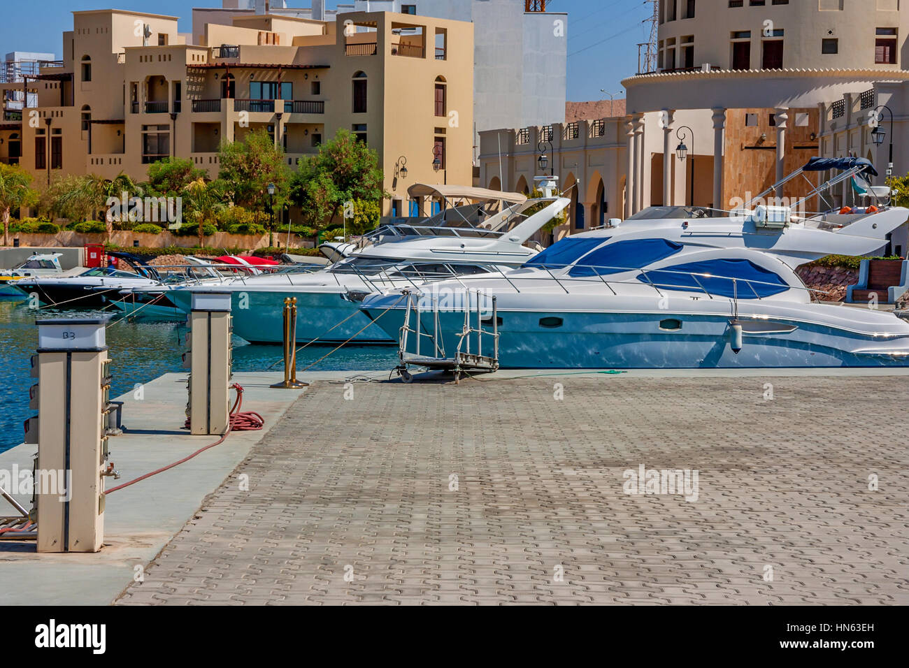 Scenic view to marina and yachts in Tala Bay, Aqaba, Jordan - Stock Image