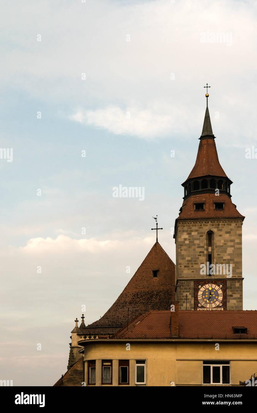 Black Church Tower in Brasov, Transylvania, Romania - Stock Image