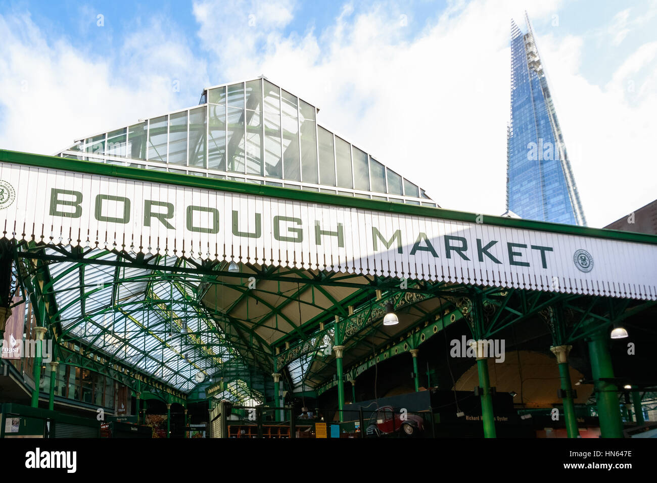 London, UK - November 7, 2016 - Borough Market with The Shard building in the background - Stock Image