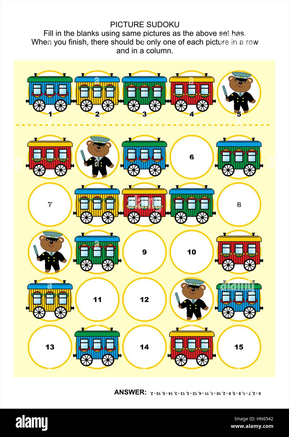 Railroad themed picture sudoku puzzle 5x5 (one block) with train ...