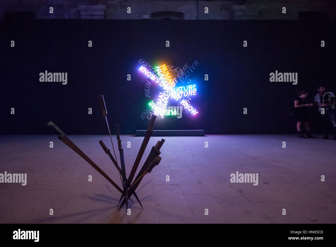 The artworks Human Nature/Life by Bruce Nauman and Nymphéas by Adel Abdessemed at the Venice Art Biennale 2015 - Stock Image