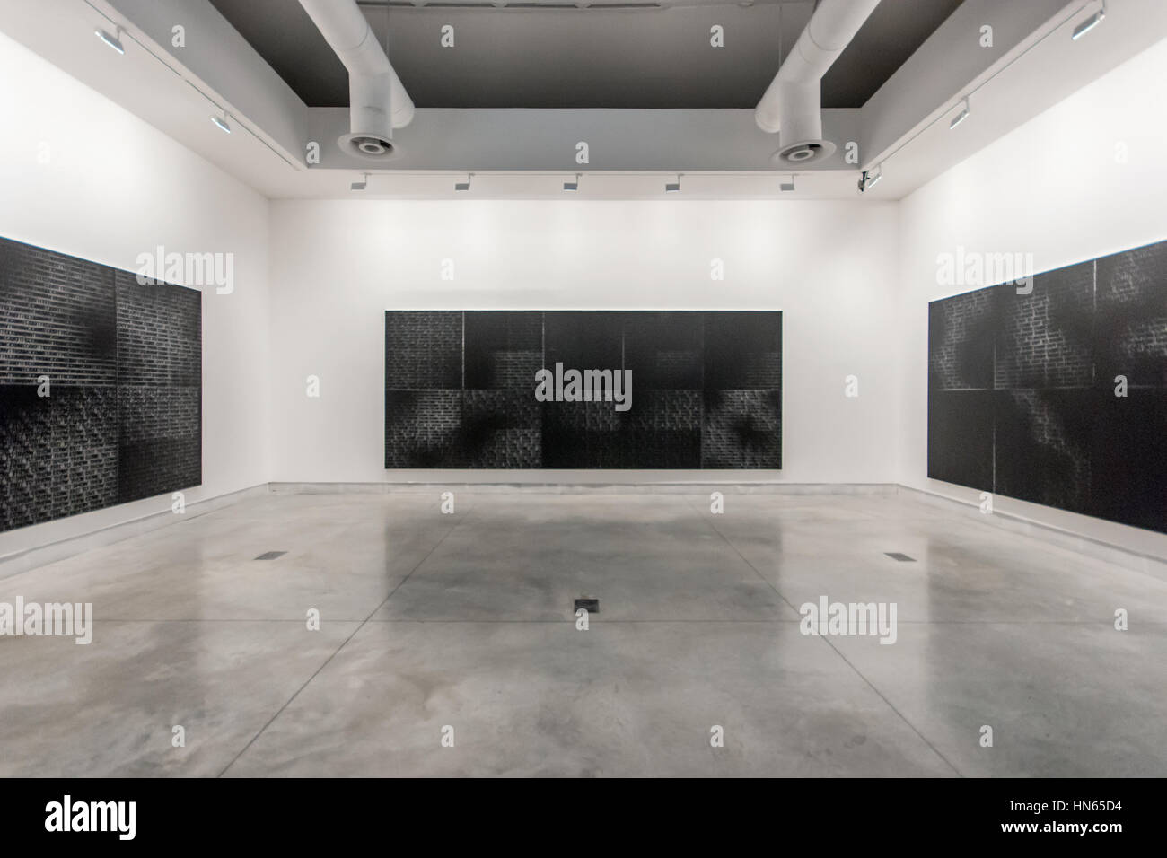 Glenn Ligon, Come Out painting series, 2015, silkscreen on canvas, Central Pavilion exhibition, 56th Venice Art - Stock Image