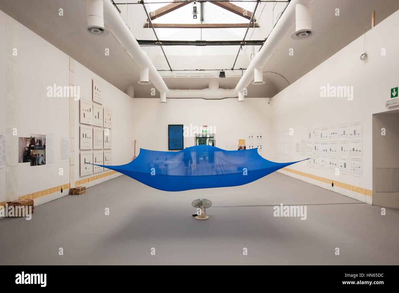 Venice Art Biennale 2015, the installation Blue Sail by German born American contemporary artist Hans Haacke - Stock Image