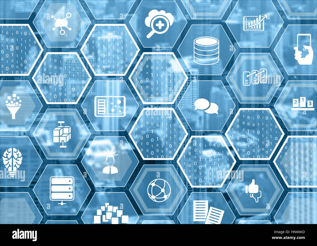 Big data concept as blurred background with hexagon shapes and symbols - Stock Image