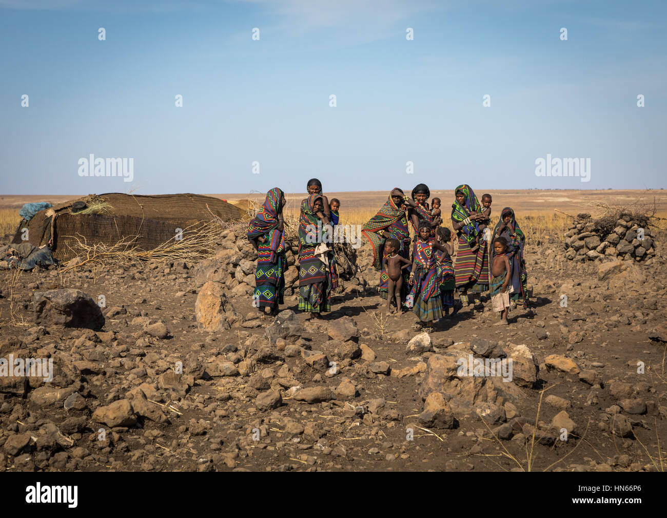 Portrait of an Issa tribe family, Afar region, Yangudi Rassa National Park, Ethiopia Stock Photo
