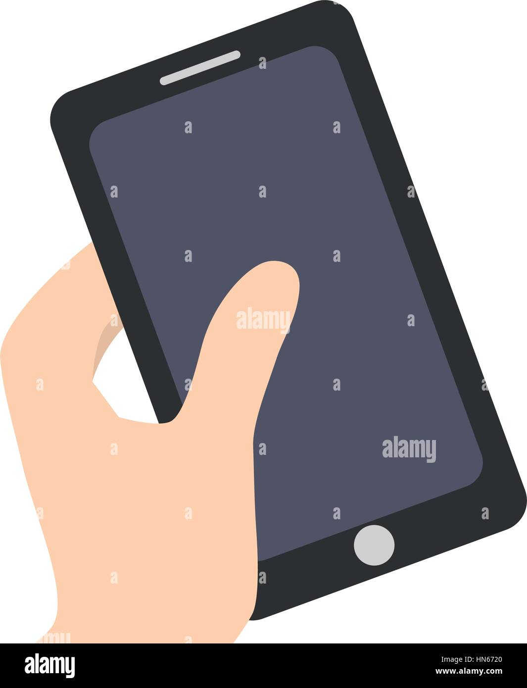 smartphone in the hand related icon - Stock Image