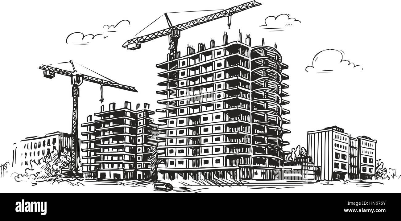 Urban Construction  Building Sketch  City  House  Town