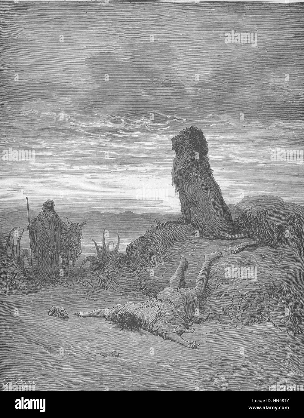 088.The Disobedient Prophet Is Slain by a Lion - Stock Image