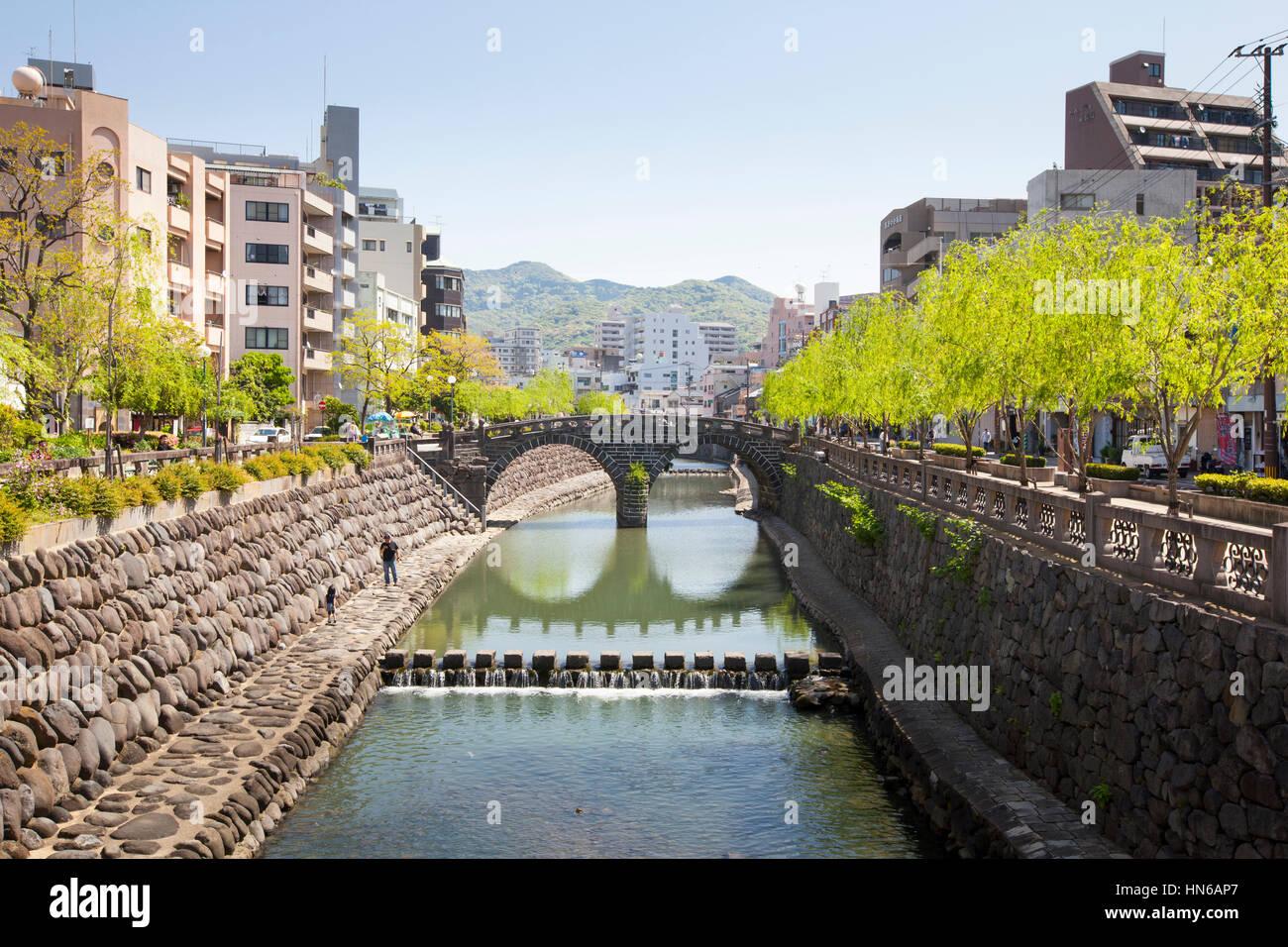 NAGASAKI, JAPAN - April 28 : The Nakashima river and Spectacles Bridge in Nagasaki, Japan on 28th April 2012. The - Stock Image