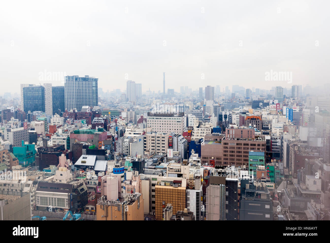 Tokyo, Japan - March 2, 2012: Elevated view of the Tokyo skyline taken through the window of a Shinjuku hotel room - Stock Image