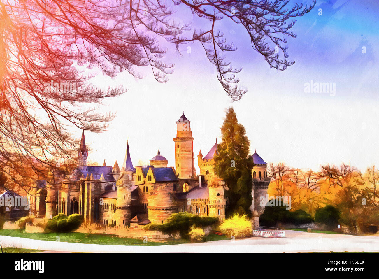 Antique castle. The works in the style of watercolor painting - Stock Image