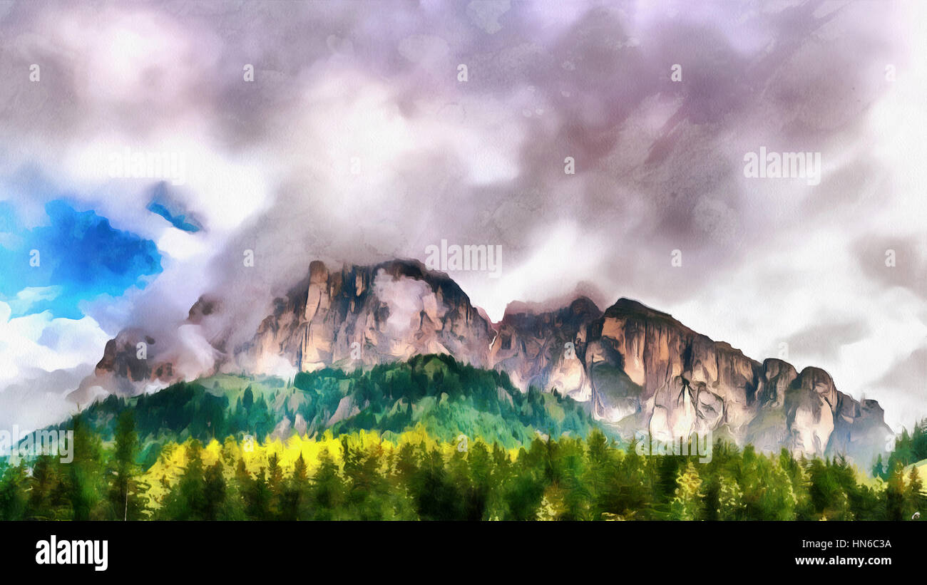 The works in the style of watercolor painting. Mountain in the c - Stock Image