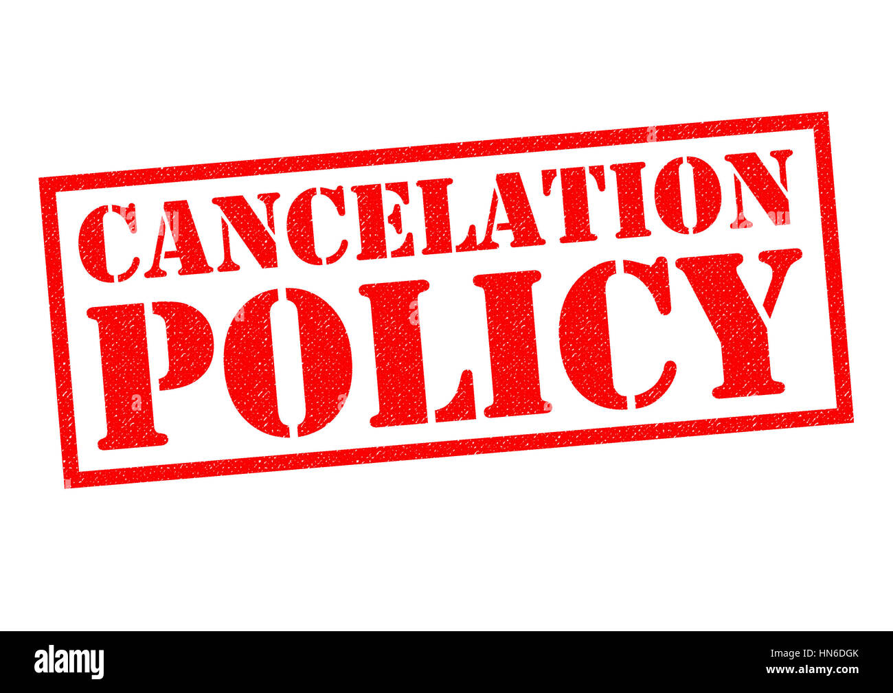 CANCELATION POLICY (US Spelling) red Rubber Stamp over a white background. - Stock Image