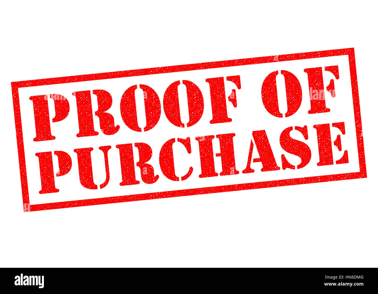 PROOF OF PURCHASE red Rubber Stamp over a white background. - Stock Image