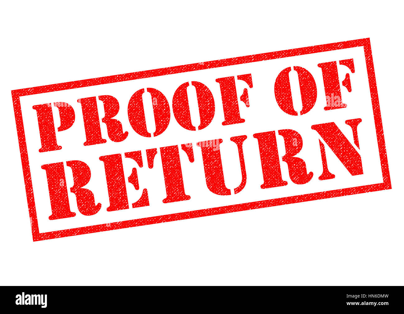 PROOF OF RETURN red Rubber Stamp over a white background. - Stock Image