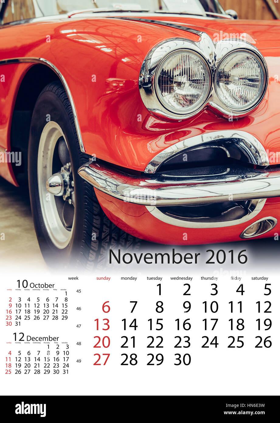 Calendar November 2016 - vintage transport retro car Stock Photo ...