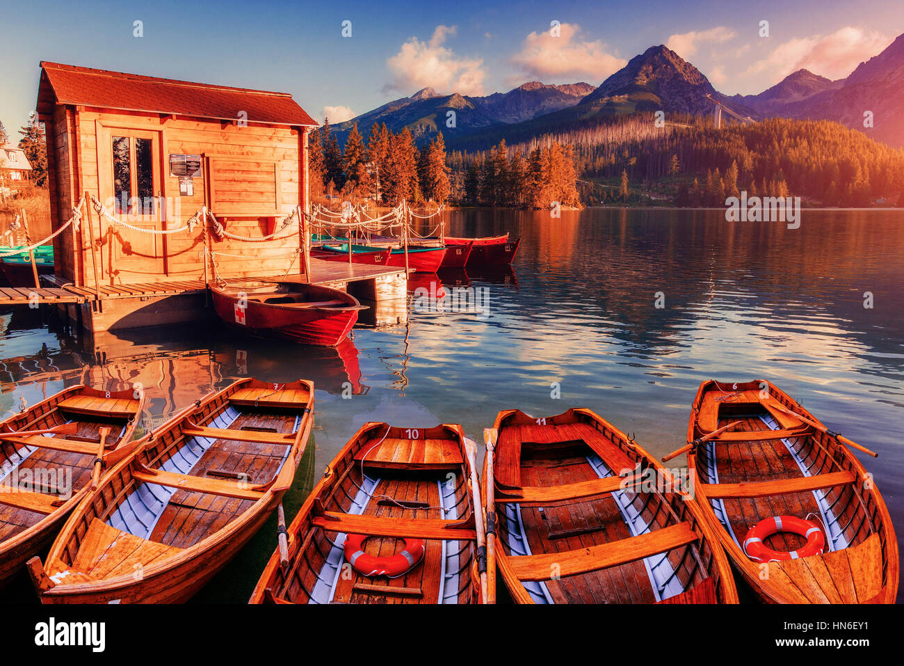 Sunrise. Fantastic Shtrbske Pleso High Tatras. Slovakia, Europe - Stock Image