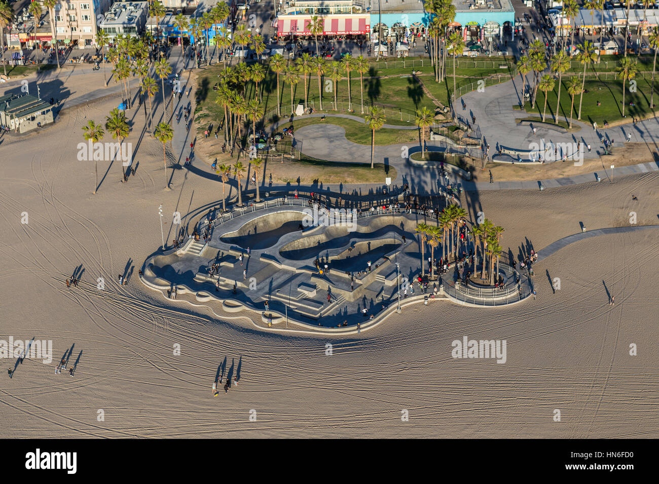 Los Angeles, California, USA - December 17, 2016:  Afternoon aerial view of Venice Beach skate park in Southern - Stock Image