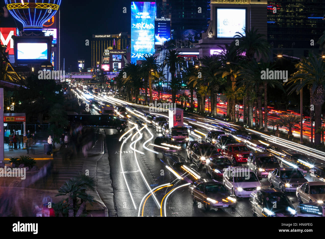 Editorial view of heavy tourist traffic on the Las Vegas strip. - Stock Image