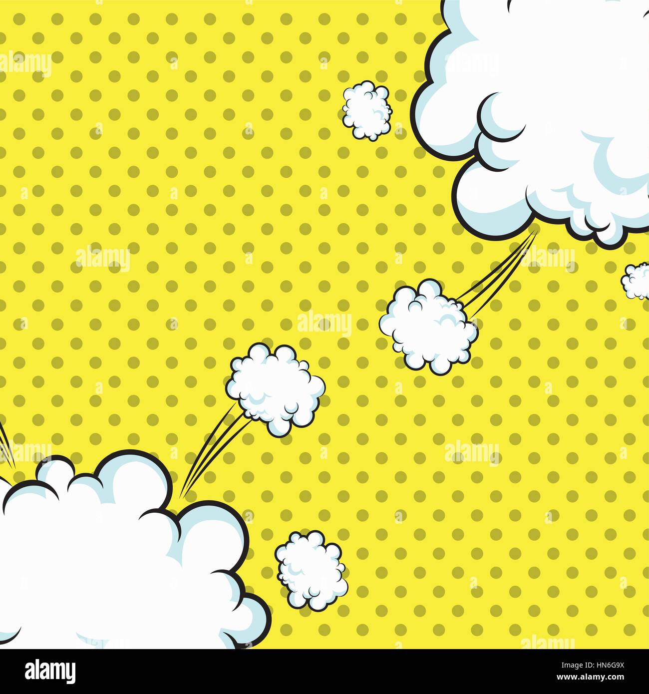 pop art clouds explotion dotted design - Stock Vector