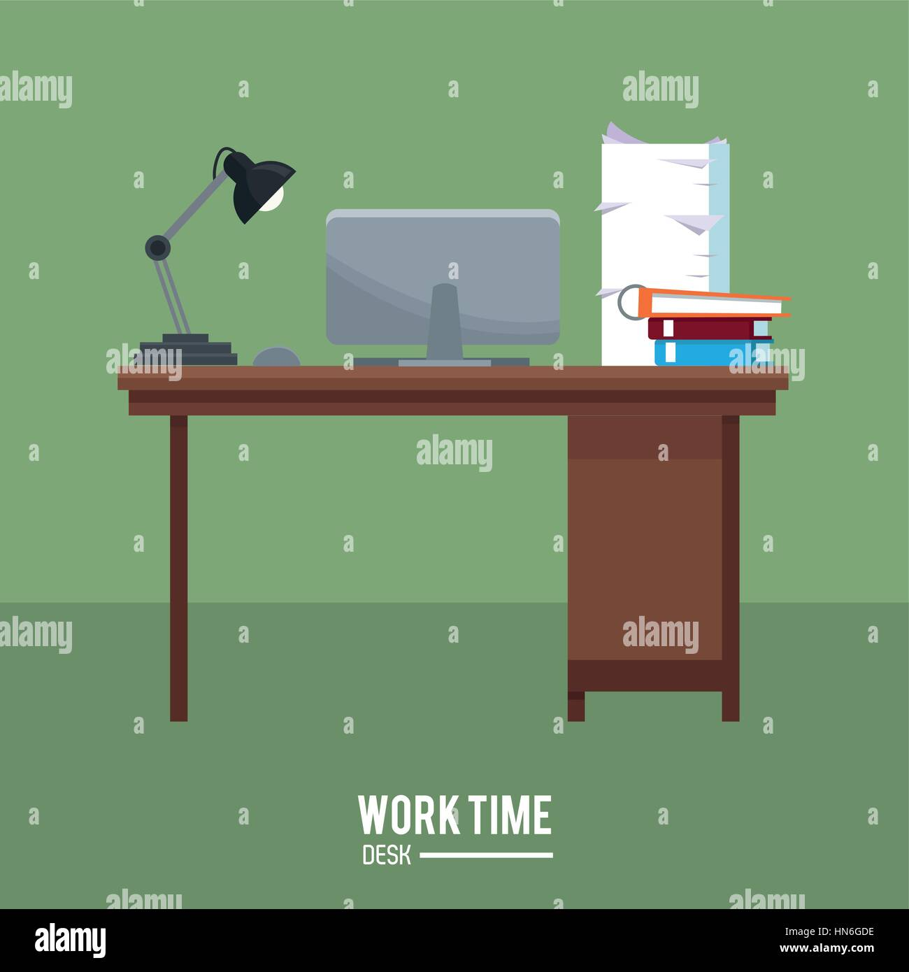 work time desk laptop lamp stack documents green background Stock Vector