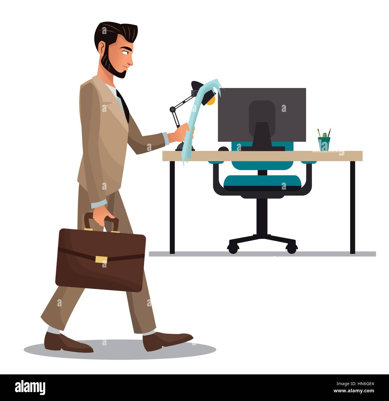 man office reading paper suitcase desk armchair laptop stock vector