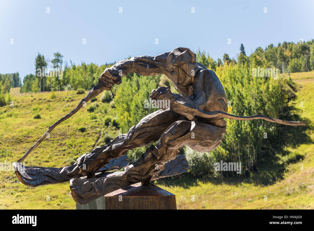 Vail, USA - September 10, 2015: Sculpture of ski racer 'The Edge' by Gail Folwell in Vail, Colorado USA. - Stock Image