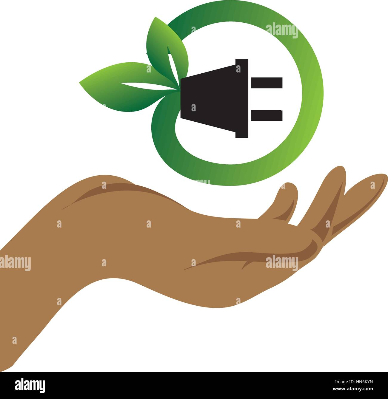 color silhouette with hand and eco plug connector vector illustration Stock Vector