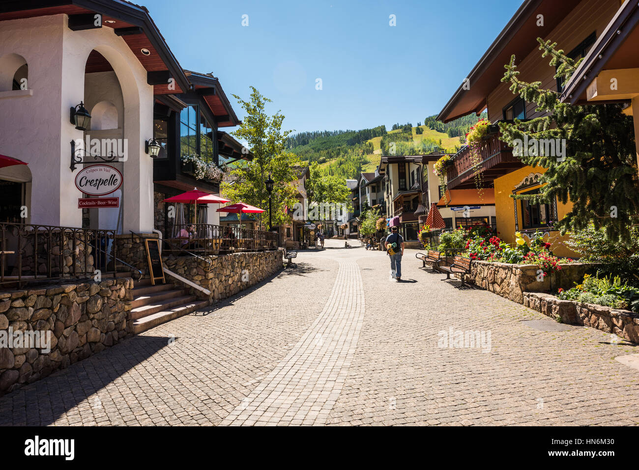 Vail, USA - September 10, 2015: Street in Swiss style at resort town of Colorado with people - Stock Image
