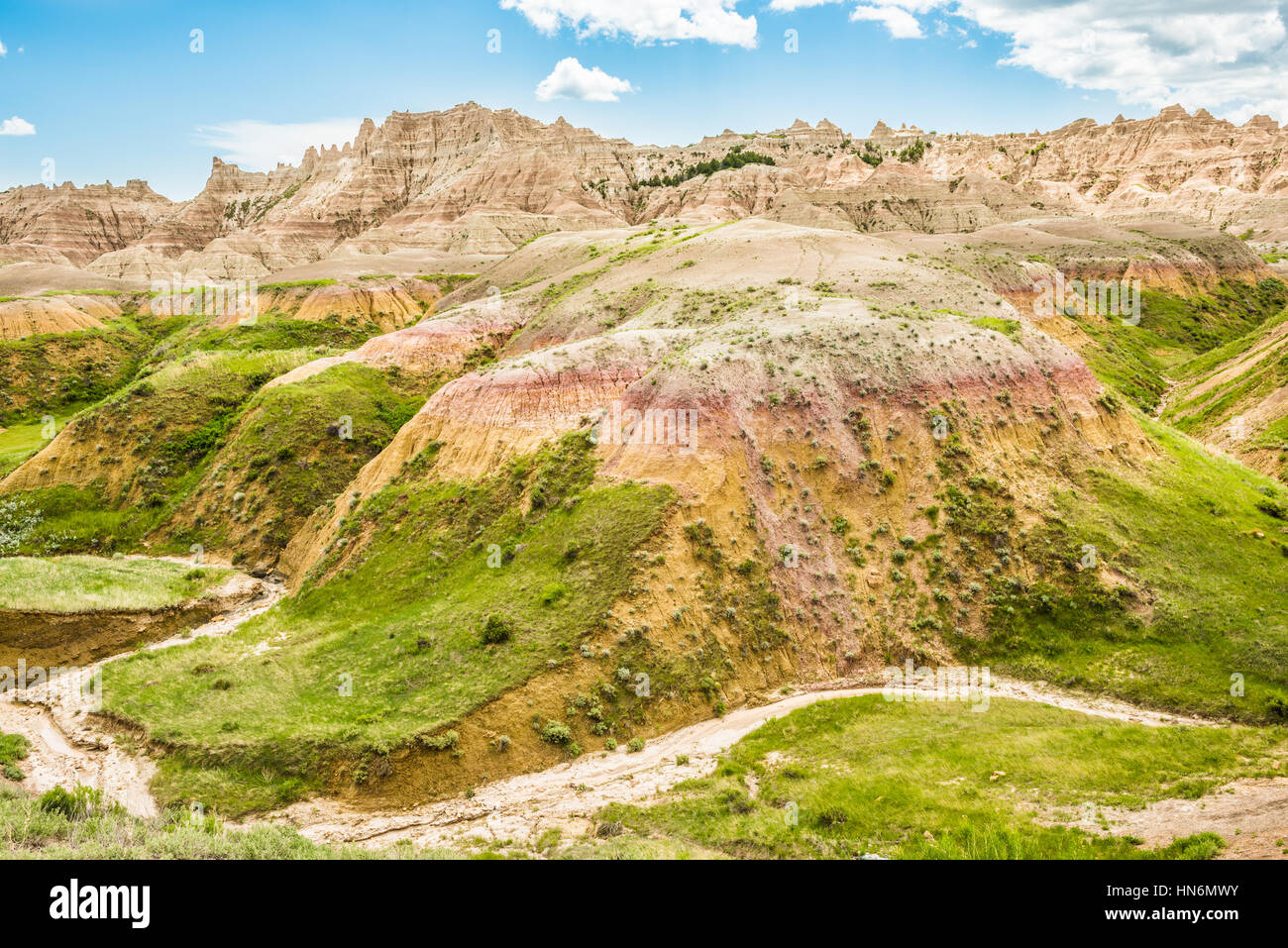 Dried up stream in Badlands National Park with green grass ...