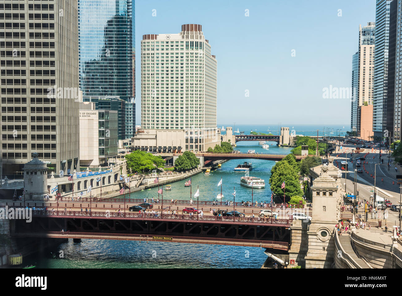 Chicago, USA - May 30, 2016: Aerial view of Lake Michigan, DuSable bridge and Wacker Drive with many skyscrapers, - Stock Image