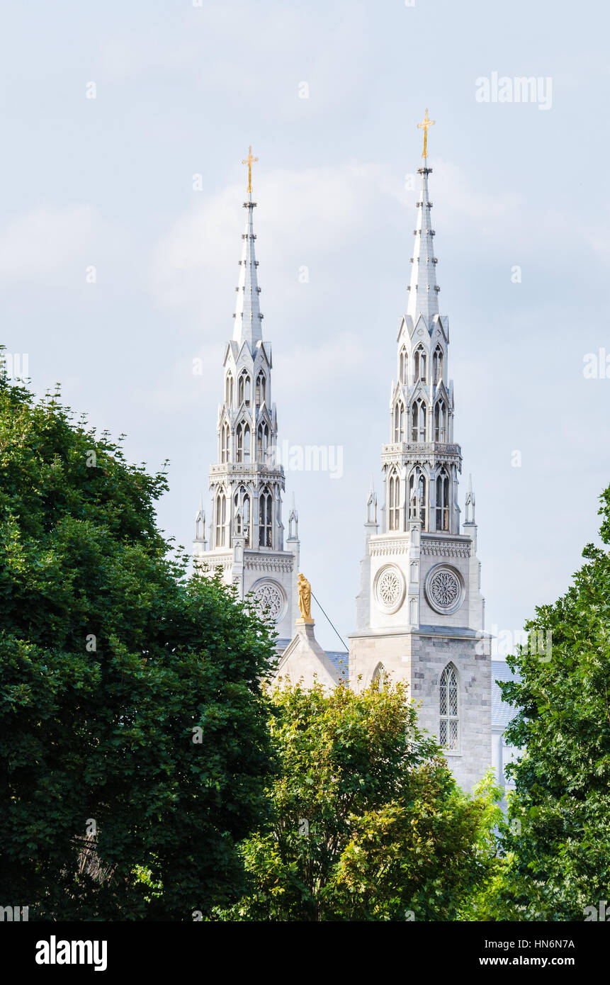 Ottawa, Canada - July 24, 2014: Notre-Dame Cathedral roman catholic Basilica with green trees - Stock Image