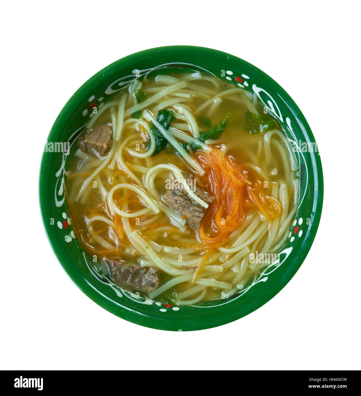 Thukpa - Tibetan noodle soup, which originated in the eastern part of Tibet. - Stock Image