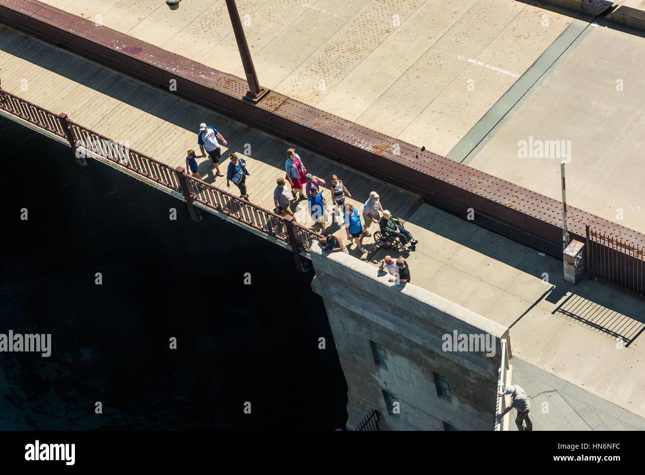 Chicago, USA - May 30, 2016: Aerial view of people walking on DuSable bridge in downtown - Stock Image
