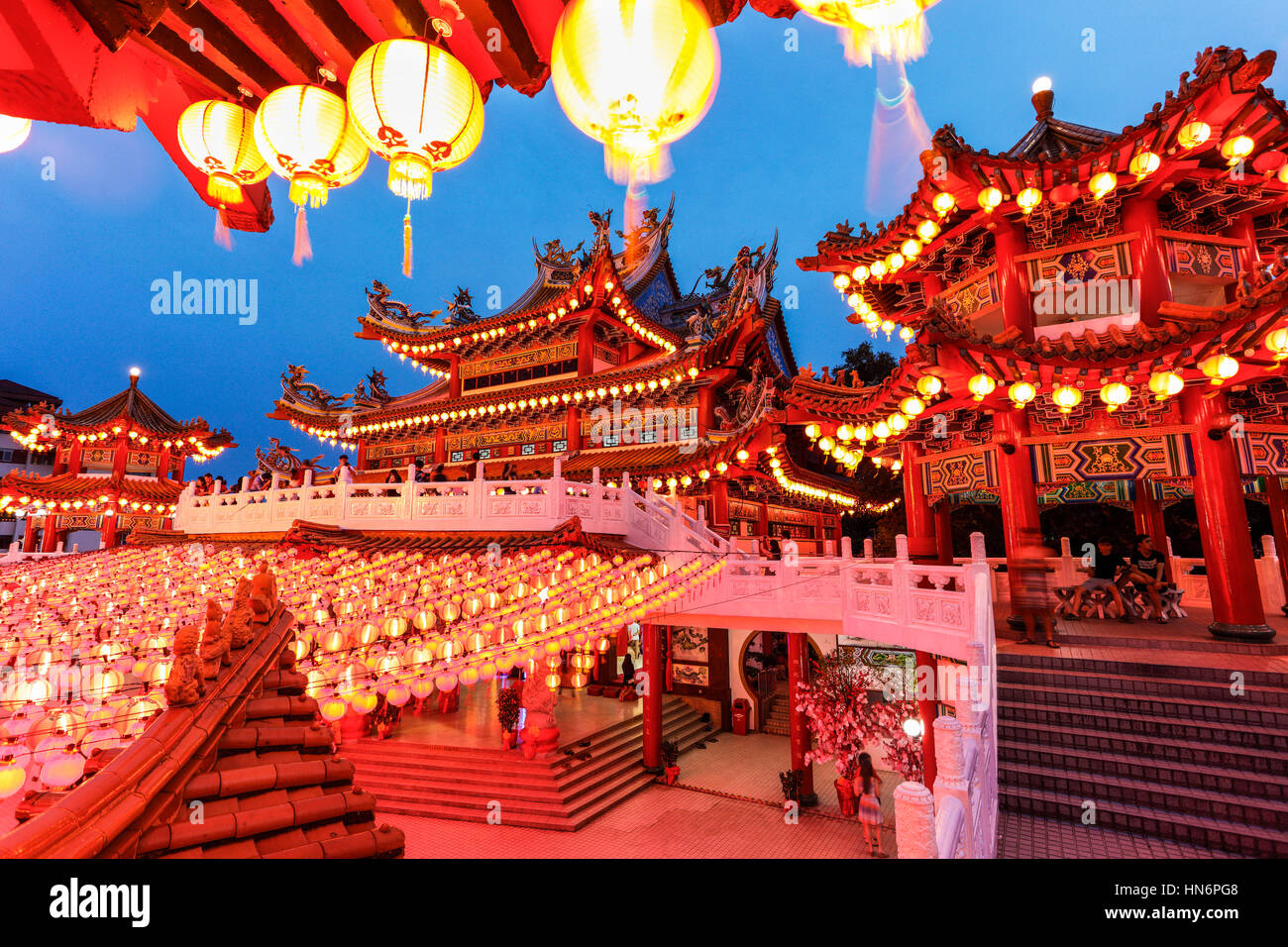 The Red Lanterns of Thean Hou Temple, Malaysia, During the Lunar Chinese New Year. - Stock Image