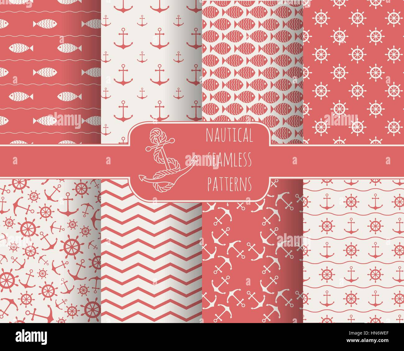 Seamless Nautical Patterns Set Design Elements For Wallpaper Baby Stock Vector Image Art Alamy