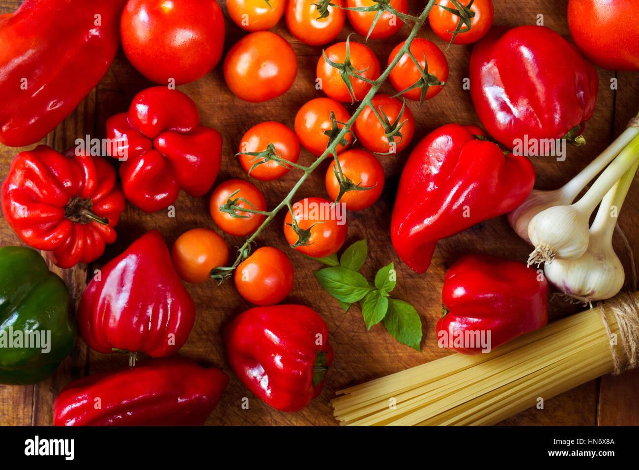 Pasta dinner ingredients Stock Photo