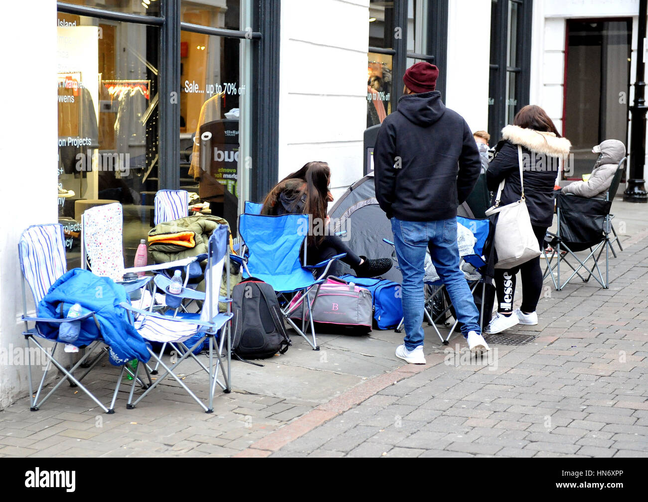 3c40fa4a Fans of rapper turned fashion designer Kanye West camp outside 18montrose  on Bridlesmith Gate in Nottingham, to be the first to get their hands on  the new ...