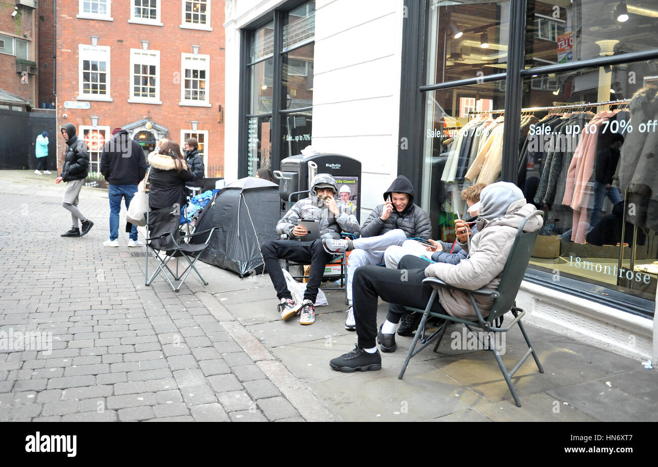 25fcc3f9 ... Matt, Will and Johnny, who are fans of rapper turned fashion designer  Kanye West, camp outside 18montrose on Bridlesmith Gate in Nottingham to be  the ...