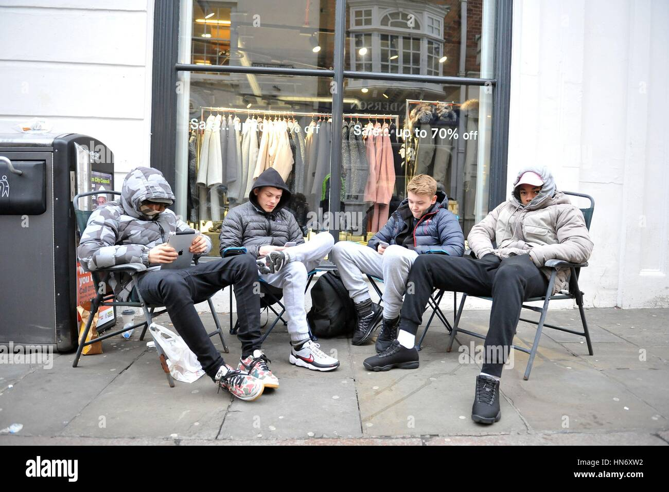 2514eeb7 (left to right) Luke, Matt, Will and Johnny, who are fans of rapper turned  fashion designer Kanye West, camp outside 18montrose on Bridlesmith Gate in  ...