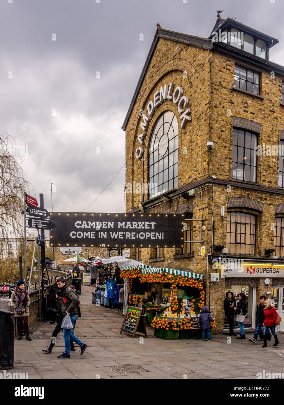 Camden Market. Come in we're open sign, Camden, London, UK. - Stock Image