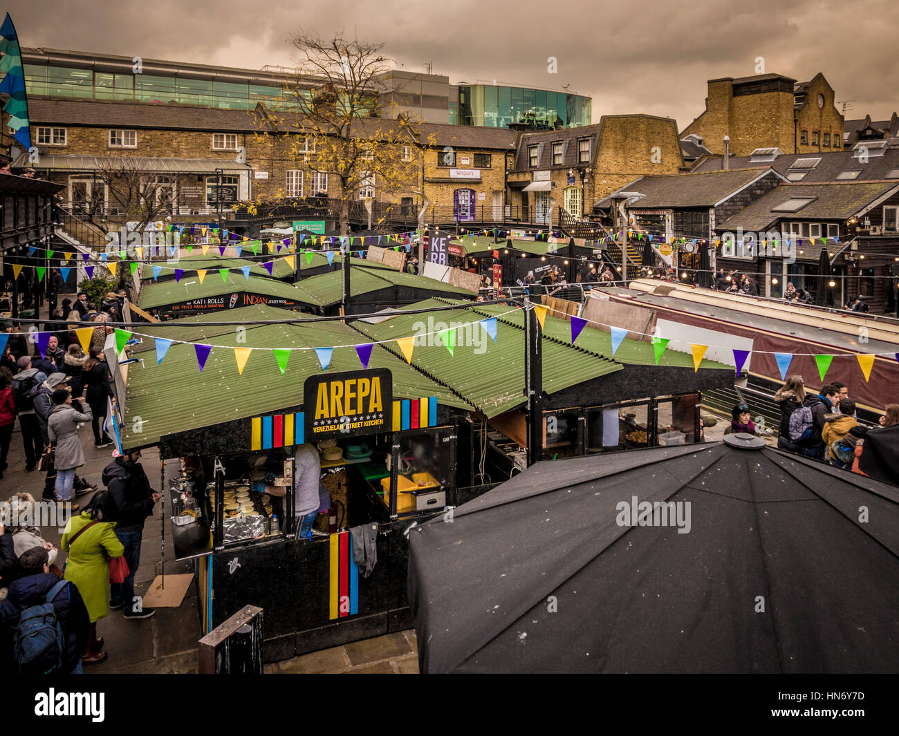 Street food stalls in courtyeard at Camden Market, London, UK. - Stock Image