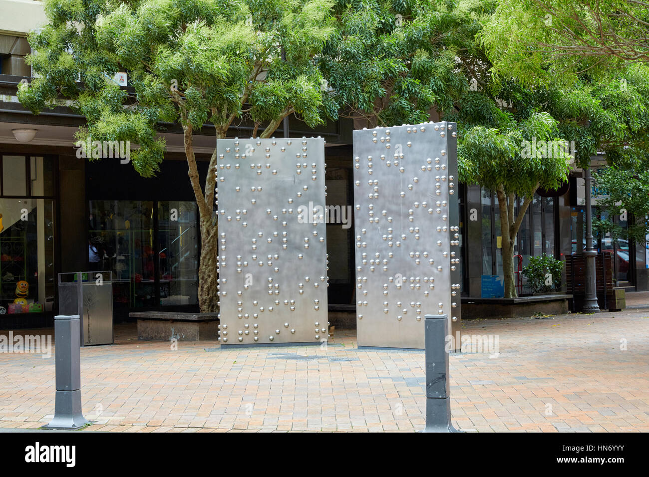 Invisible City sculpture by Anton Parsons, Lambton Quay, Wellington, New Zealand - Stock Image
