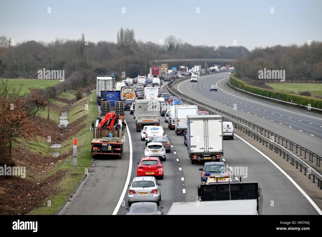 Stationary traffic on the M3 motorway at Shepperton Surrey UK - Stock Image
