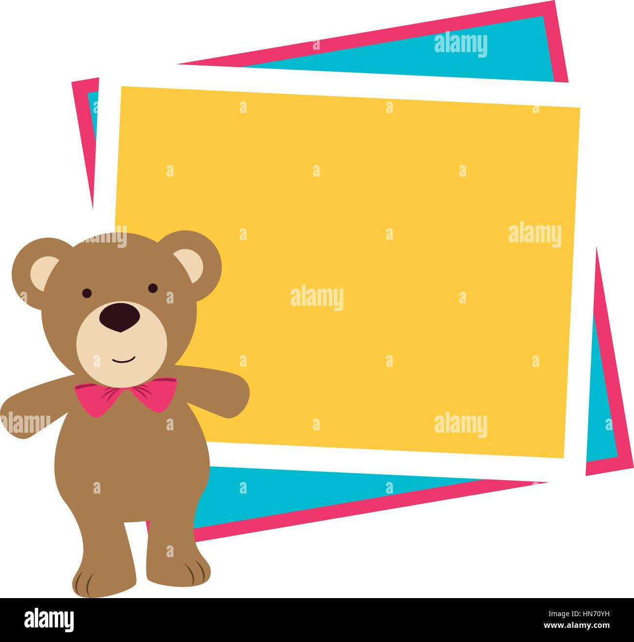color frame with border with teddy bear vector illustration Stock ...